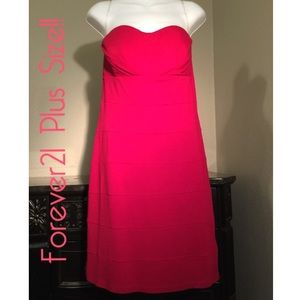 Forever21 Plus Size Strapless Red Party Dress