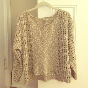 Urban Outfitters Beige and White Sweater