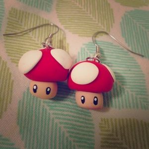 Accessories - Kawaii Mushroom Video Game Nintendo  Earrings