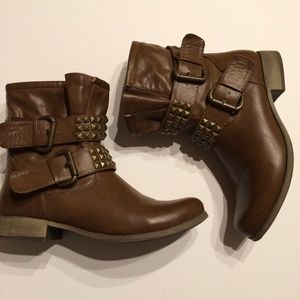 MIA Shoes - Rugged Brown & Gold Studded Buckle Boots