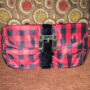 J. Crew red/black plaid clutch