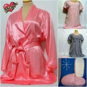 adonna Other - Satin polka dot wrap belted robe