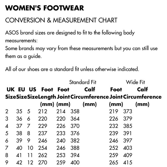 shoe size chart asos: Asos asos shoe sizing chart from latoya s closet on poshmark