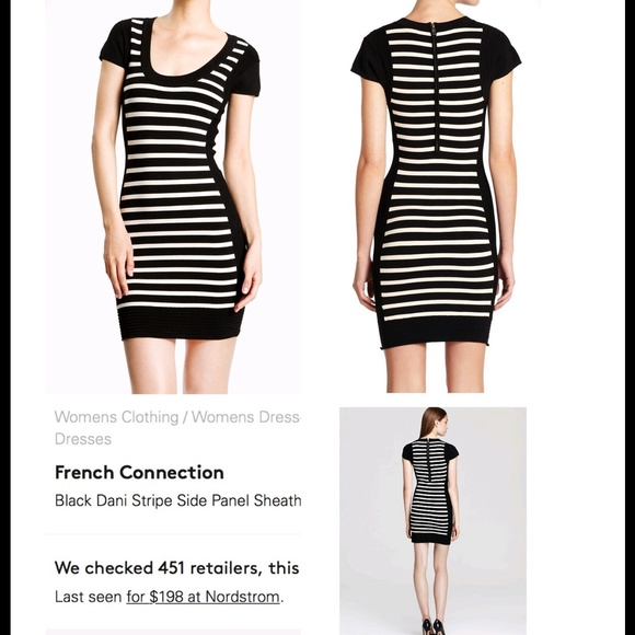 03a1f63178 French Connection Dresses   Skirts - French Connection Black Striped  Bodycon Dress