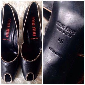 Miu Miu Shoes - Miu Miu Peep Toe Curved Heel Pumps Sz 40 / 10
