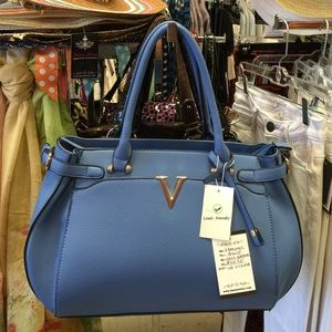 Handbags - Blue Faux Leather Satchel
