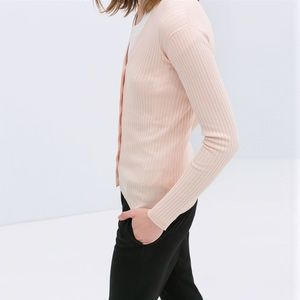 Zara Pink Ribbed Cardigan