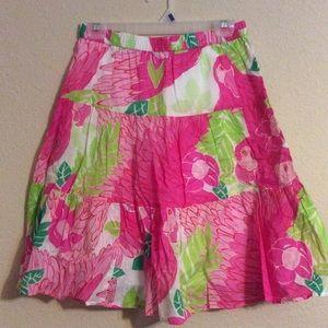 Lilly Pulitzer Sz 8 Parrot Pink Print Skirt