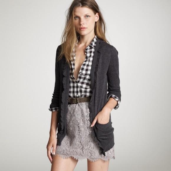 jcrew forest green lace mini skirt