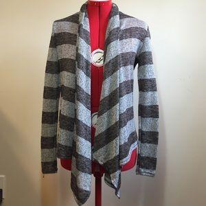 Striped Draping No-Close Cardigan