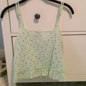Zara Mint Green Tank w/ Floral Design
