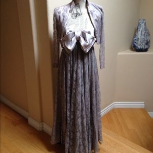Vintage Lace and Satin Evening Gown and Jacket