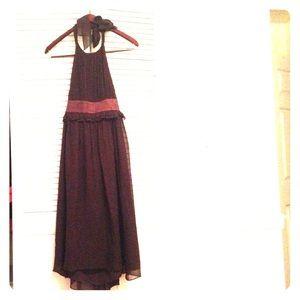 BCBG Brown chiffon dress, banded waist, halter top