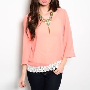 🎉🎀HOST PICK!!🎀🎉 Peach Crochet Trim Top