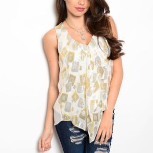 ⬇️PRICE DROP⬇️ Ivory Gold Detail Sleeveless Top