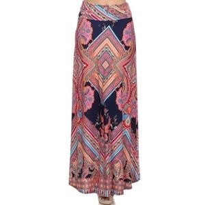 Dresses & Skirts - Foldover tinted paisley aztec maxi skirt M NWT