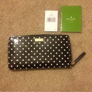 Kate Spade polka dot full size wallet
