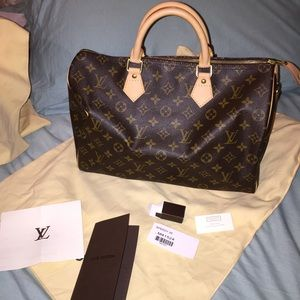 Authentic Louis Vuitton Speedy 35 in Mono 
