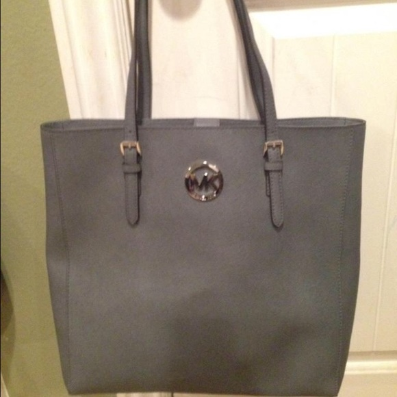 742e8dd95a42 Michael Kors Bags | Mk Jet Set Travel Large Ns Tote Heather Grey ...