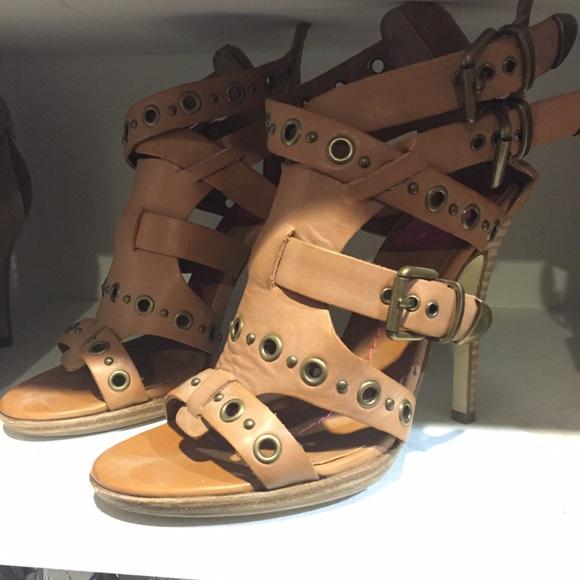 Dolce Vita camel strappy zipper high heel sandal