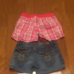 Denim - 2 pair of girls size 10/12 shorts, denim & plaid