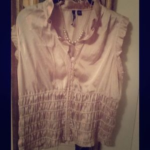 Milano Tops - Beige satin smocked ruffle button up top