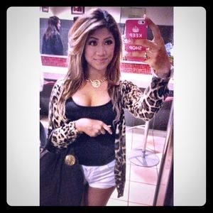 Long Animal Print Cardigan 