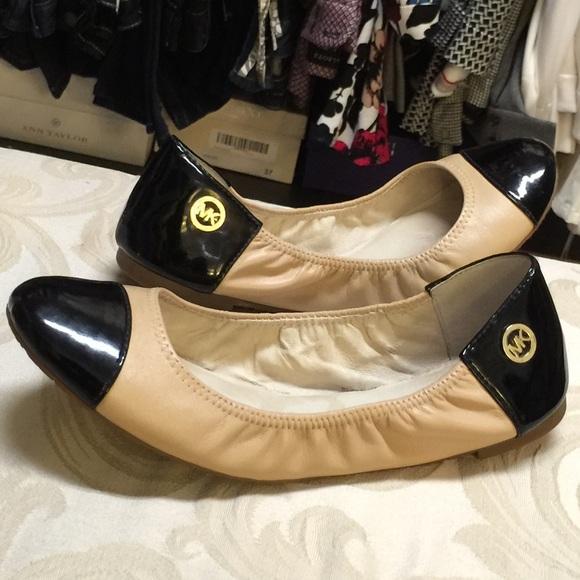 da137edae Michael Kors Shoes | Mk Tanblack Leather Cap Toe Ballet Flats | Poshmark