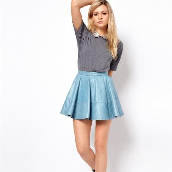 64% off ASOS Dresses & Skirts - Asos Light Blue Leather Skirt from ...