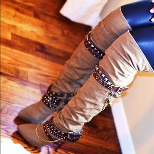 Boots - Knee High Canvas Boots