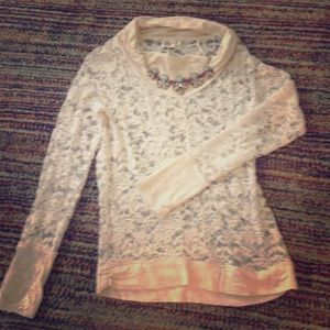 Anthropologie long sleeve lace boat neck top