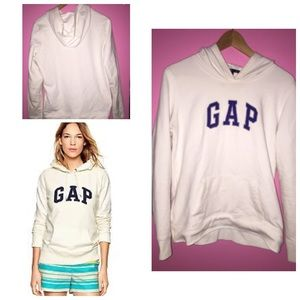68% off GAP Sweaters - White GAP hoodie with purple lettering ...
