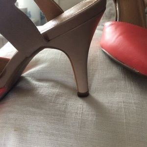 Cato Shoes - Nude and coral ankle strap heels