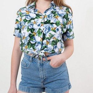 American Apparel Tops - Printed Rayon Mid-Length Tie-Up Blouse 141561056