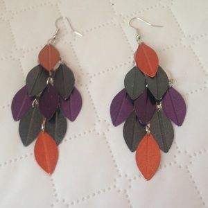 Multi colored dangle leaf earrings