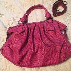 Nine West Pink Snakeskin Printed Handbag