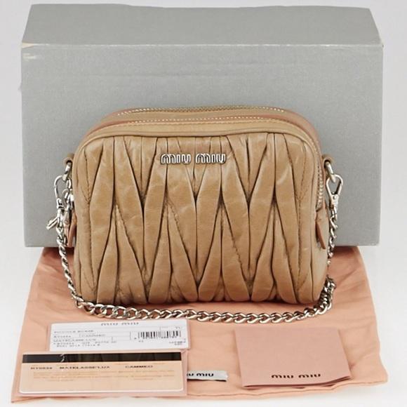 edd7db3eaf42 Miu Miu Cammeo Matelasse Lux Leather Mini Pochette