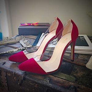 Clear red tip stillettos like gianvito pumps