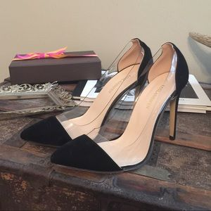 Suede and plexy laser pumps black like Rossi pumps