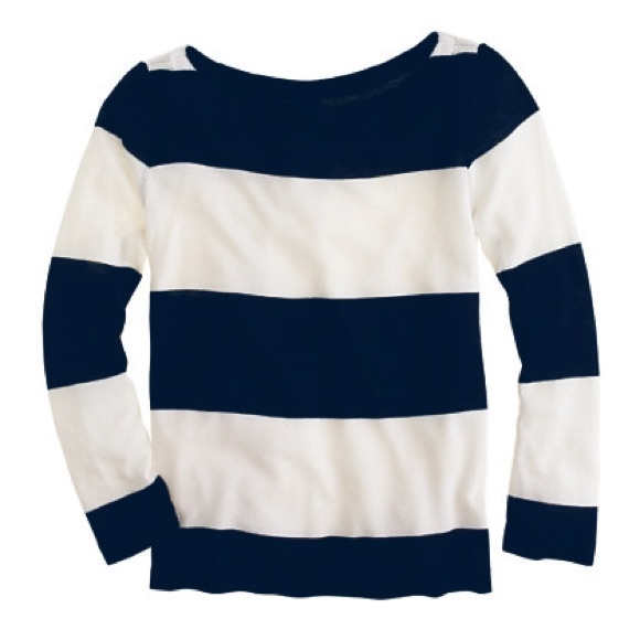69 Off J Crew Tops J Crew Navy White Rugby Stripe