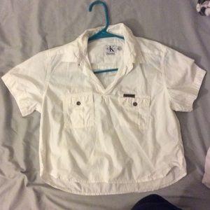 White Calvin Klein Short Sleeve Button Down