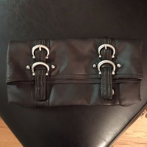 Handbags - Dark brown fold over clutch bag with buckle detail