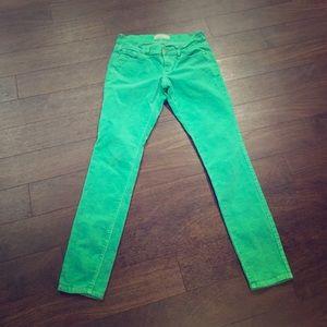 Mint green corduroy skinny pants