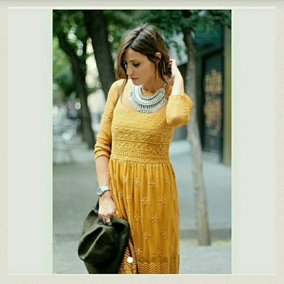 43% off Zara Dresses & Skirts - Zara mustard yellow lace dress ...