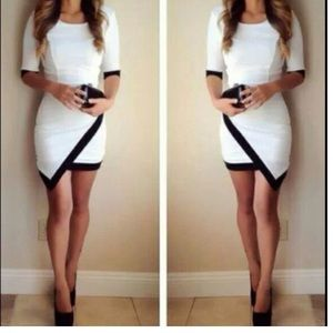New Black White Outline BodyCon Party Dress❤️