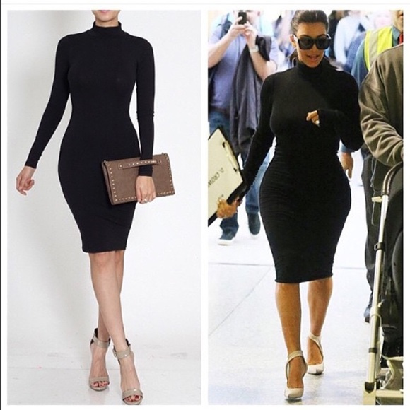 9da86d69e3a Black Kim Kardashian long sleeve turtleneck dress