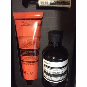 Aesop gift box moisturizer, lip balm, body wash