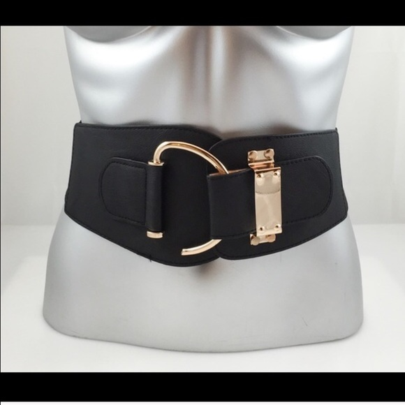 new plus size black hook gold hardware wide belt os from