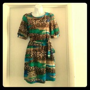 Blue Green Cheetah Print Dress