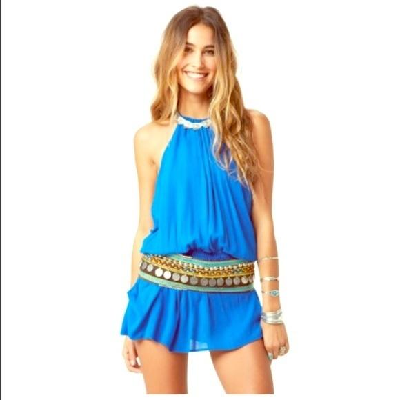 Blue life halter dress